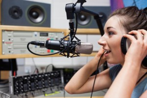 Young radio host speaking