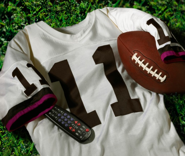 Football, jersey, and remote control