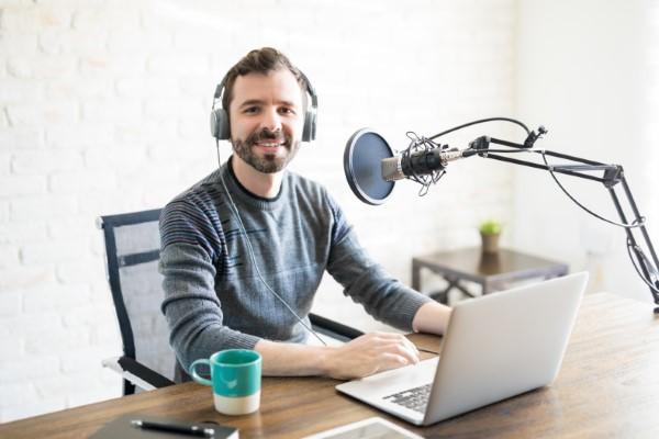 Freelance podcaster at home studio