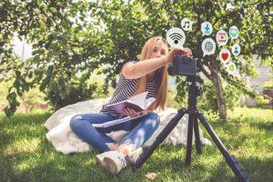 Girl with media camera