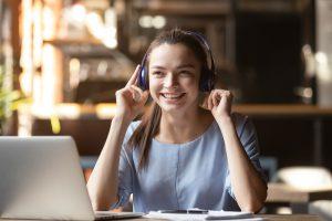 Media girl with headphones